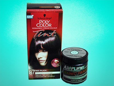 Two different brands of hair colouring product