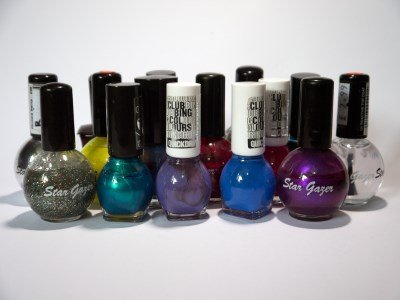A selection of different brands and colours of nail varnish